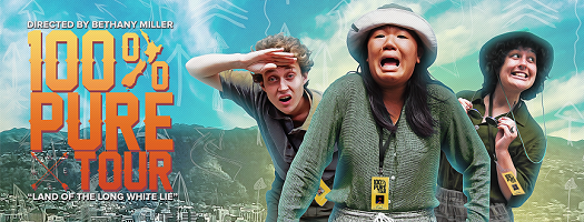 Three tour guides make exaggerated faces of fear, curiosity, and joy in front of the Wellington cityscape